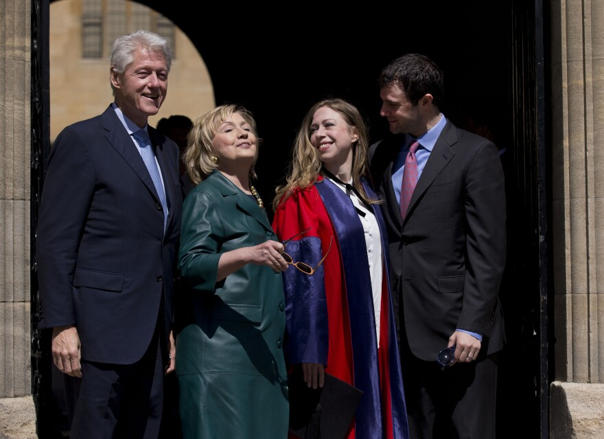Hillary Clinton poses for a family photo with former President Bill Clinton, daughter Chelsea, and son-in-law Marc Mezvinsky, after attending Chelsea's Oxford University graduation ceremony last month.