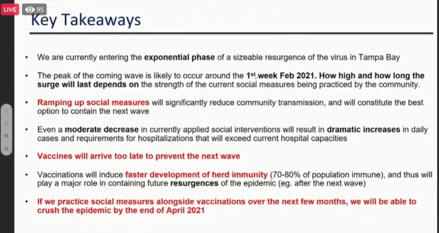 Dr. Michael's final slide of his presentation to the Hillsborough Board of County Commissioners