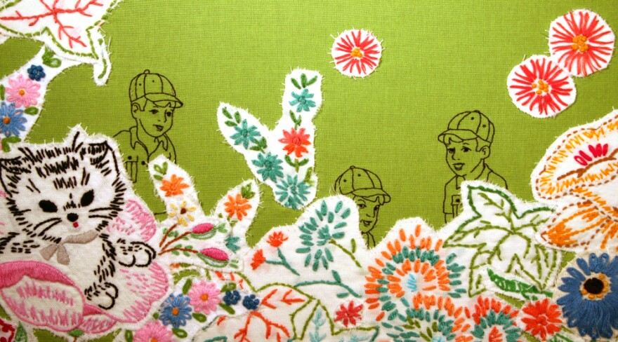 """<em></em> Maggy Rozycki Hiltner's <em>Hothouse Flowers</em>, made of found fabrics, is one of many works on display in the Textile Museum's <a href=""""http://www.textilemuseum.org/green/"""">Green: The Color and the Cause</a> exhibit in Washington, D.C. <a href=""""http://media.npr.org/assets/artslife/arts/2011/04/hothouse-flowers_custom.jpg"""">Click here</a> to see the full textile."""