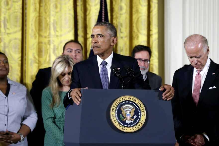 """""""We maybe can't save everybody, but we can save some,"""" President Obama said at the White House Tuesday, discussing his plans to reduce gun violence with tighter background checks and other measures. He was joined onstage by Vice President Biden and people whose lives have been affected by gun violence."""