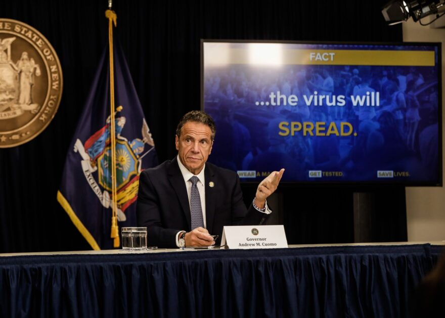 New York Gov. Andrew Cuomo speaks at a news conference in New York City.