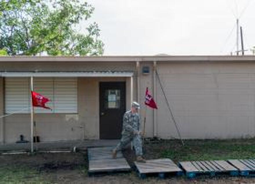 The headquarters of North Carolina's 105th Engineer Battalion in Salinas, Puerto Rico has only spotty communications with the main National Guard command center.