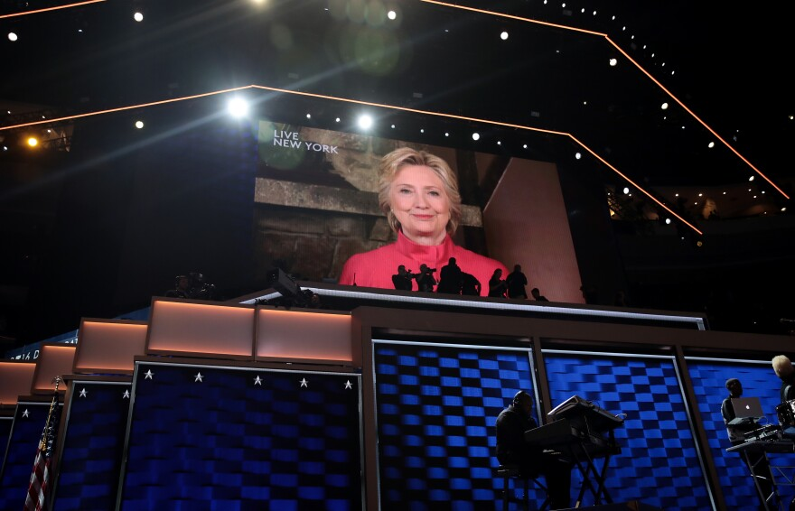 At the end of the night, Hillary Clinton addresses the convention via live feed from New York.