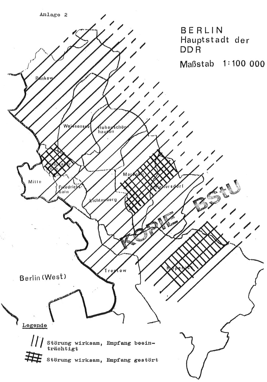 This map by East Germany's Stasi secret police illustrates their jamming campaign against the dissident radio show, <em>Radio Glasnost.</em>