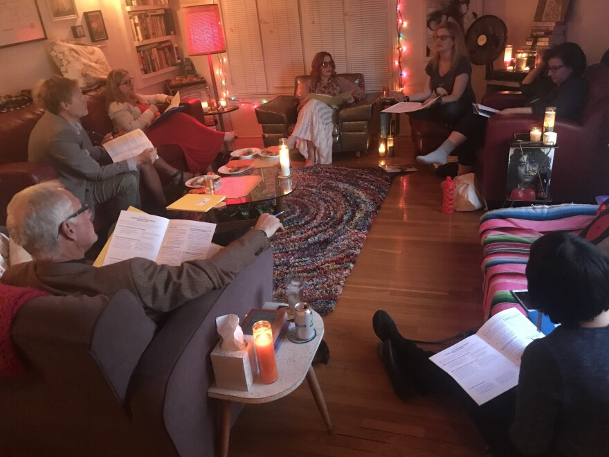 """Amy Pickard leads a """"Good to Go"""" party in her living room."""