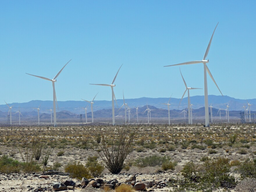 About a quarter of California's electricity comes from renewable sources, like this wind farm outside San Diego.