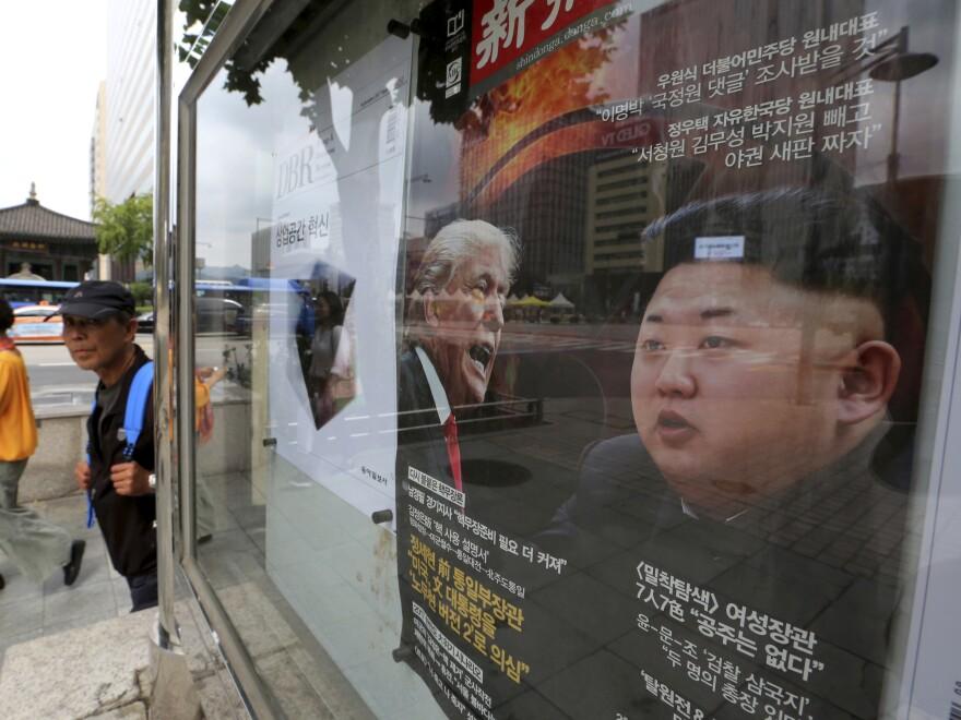 "A South Korean news magazine shows cover photos of President Trump and North Korean leader Kim Jong Un and a headline ""Korean Peninsula Crisis"" in Seoul in September."
