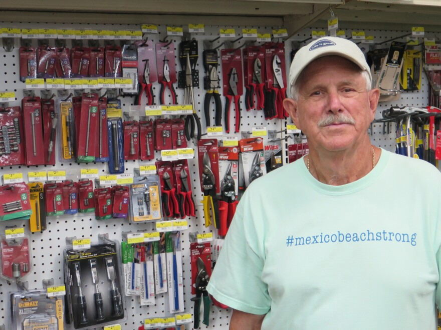Al Cathey is mayor of Mexico Beach and the owner of the hardware store, one of the few businesses open in town.