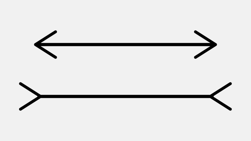 The Müller-Lyer illusion, devised in 1889.