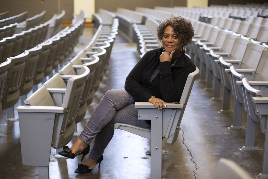 Judy Gladney poses for a portrait at the University City High School auditorium on Oct. 10, 2019.