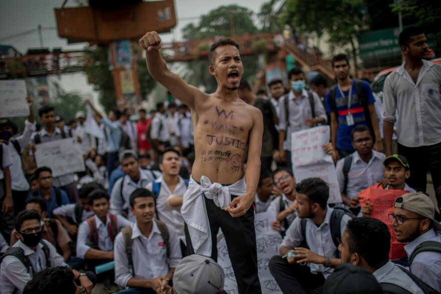 Students gathered at Elephant Road Circle, demanding better road safety and justice for traffic deaths, in Dhaka, Bangladesh, on August 4.