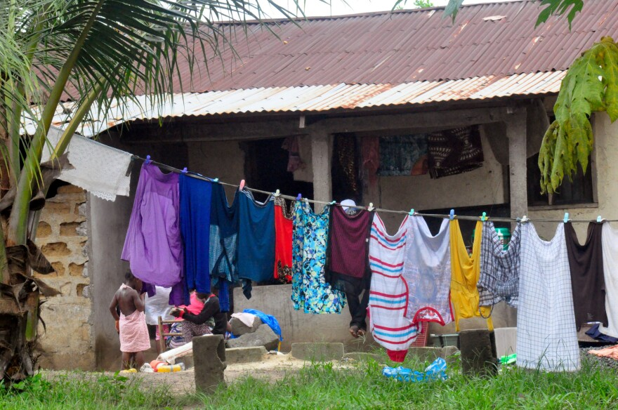 This is a photo taken in the town of Smell No Taste, where a teenager died of Ebola this past week. The home where he passed away is now under quarantine.