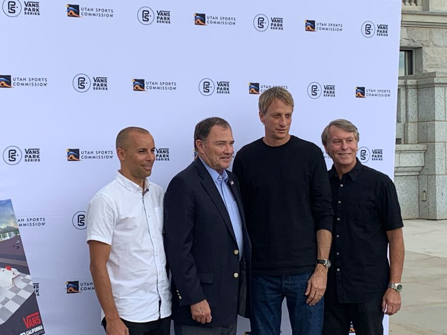 Photo of professional skateboarder Tony Hawk; Bobby Gascon, global director of sports marketing for Vans; Gov. Gary Herbert and Jeff Robbins, president and CEO of the Utah Sports Commission, at Salt Lake City's new skatepark.
