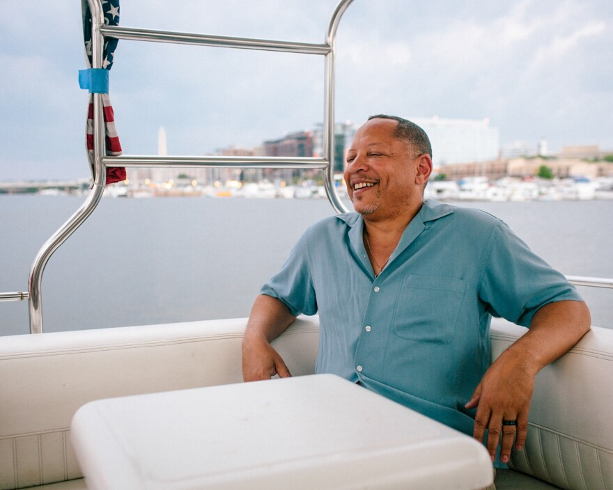 Darryl Madden, aboard Black Pearl, moved to Gangplank in 2011. The Washington Monument and the District Wharf are visible in the background.