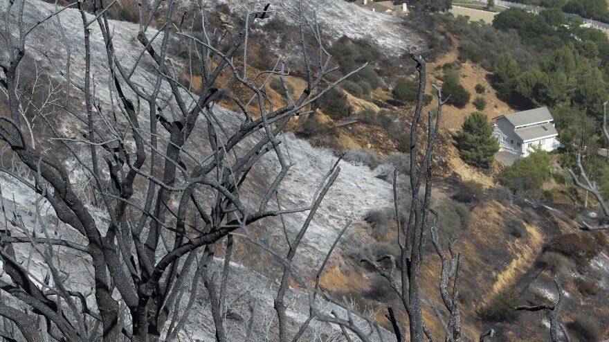 This structure in Hidden Valley was saved during last year's Springs fire. The fire started on May 2, which firefighters say is unusual for Southern California.