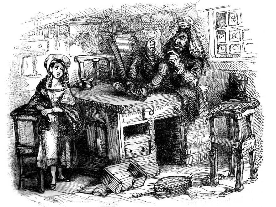 "Quilp, the epitome of evil in Charles Dickens' <em>The Old Curiosity Shop</em>, seen here with Little Nell, is a dwarf with the head of a giant and a ""few discolored fangs"" for teeth. But his most grotesque trait is his trick of drinking ""boiling tea without winking"" and eating ""hard eggs, shell and all."""