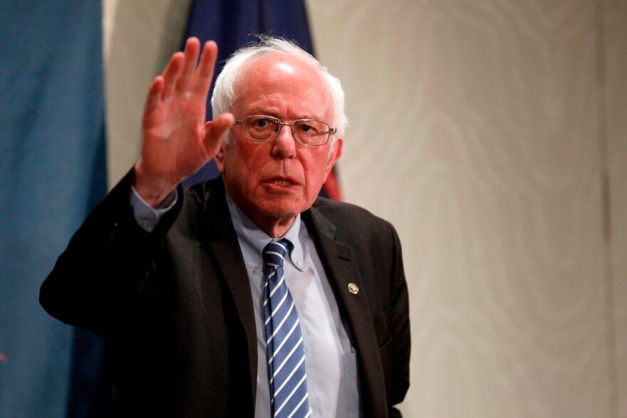 Former Democratic presidential candidate Bernie Sanders gestures after a Coronavirus Public Health Roundtable at the Westin Detroit Metropolitan Airport in Romulus, Michigan.