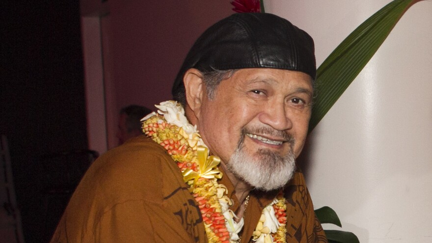 Cyril Pahinui, photographed before the start of a live concert featuring musicians who contributed to the film <em>The Descendants</em> on April 14, 2012 in Honolulu.