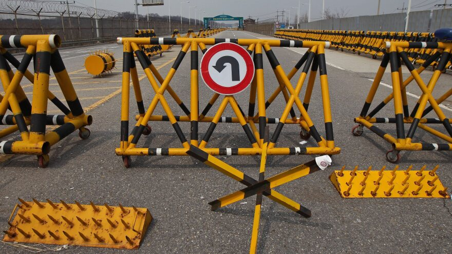 Do not enter: Barriers, including spikes, at the Military Demarcation Line (MDL) near the Demilitarized Zone (DMZ) in the Gyeonggi province, South Korea.