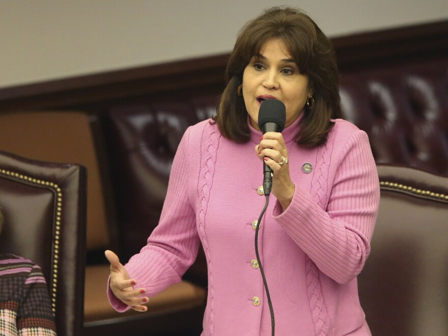 Florida state Sen. Annette Taddeo, D-Miami, speaks during Wednesday's special session about Gov. Ron DeSantis' dismissal of Broward County Sheriff Scott Israel.