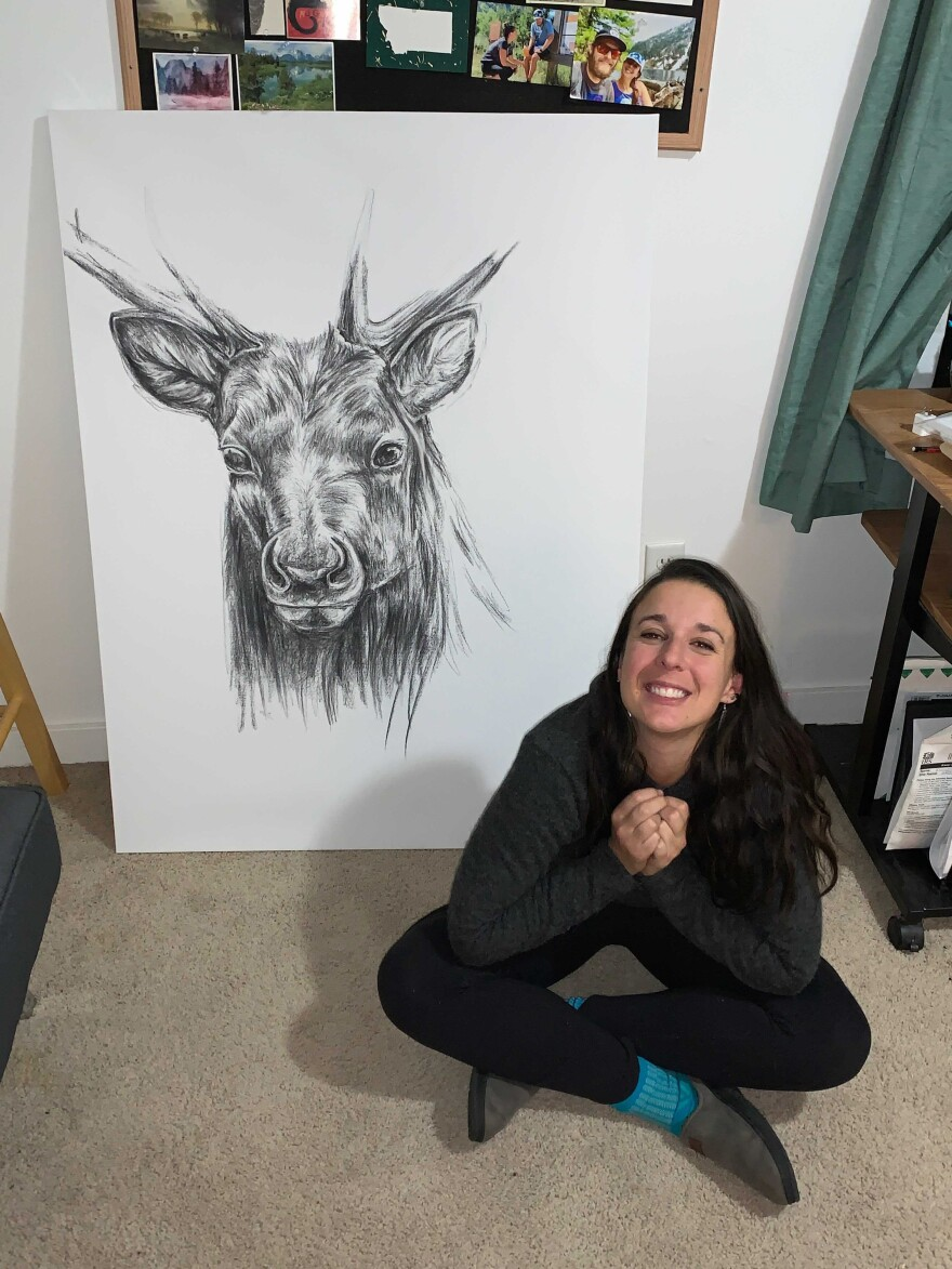 Maggie Slepian spent at least 12 hours on FaceTime with her sibling Harry to finish this drawing of an elk.