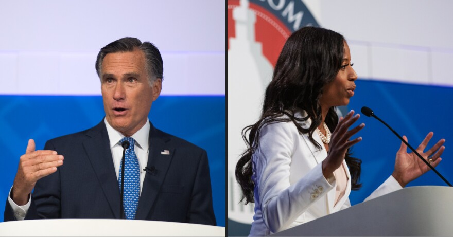 Photo of Mitt Romney, Mia Love in debates.