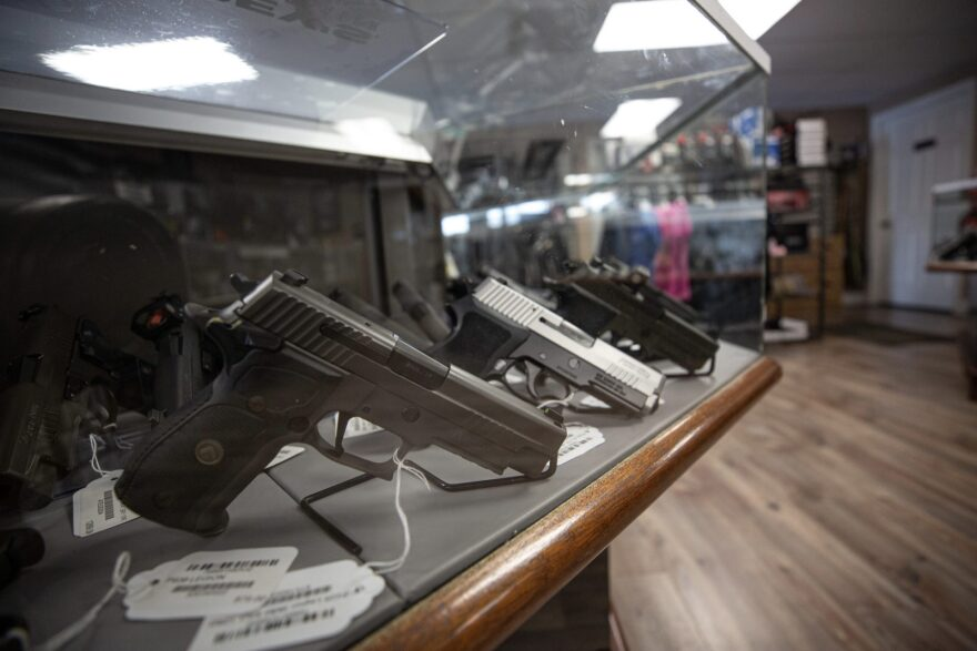 In states like Connecticut, Ohio and Illinois, businesses selling firearms are still open. Delta Arsenal in Wallingford, Connecticut, seen here in September 2019, is among those still open. 