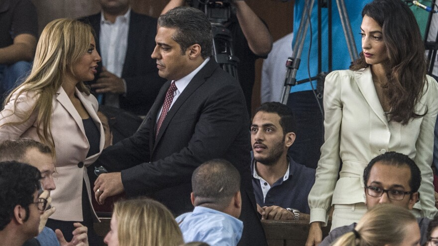 Al Jazeera journalist Mohamed Fahmy (center) at a court hearing last month. The Egyptian president pardoned him on Wednesday.
