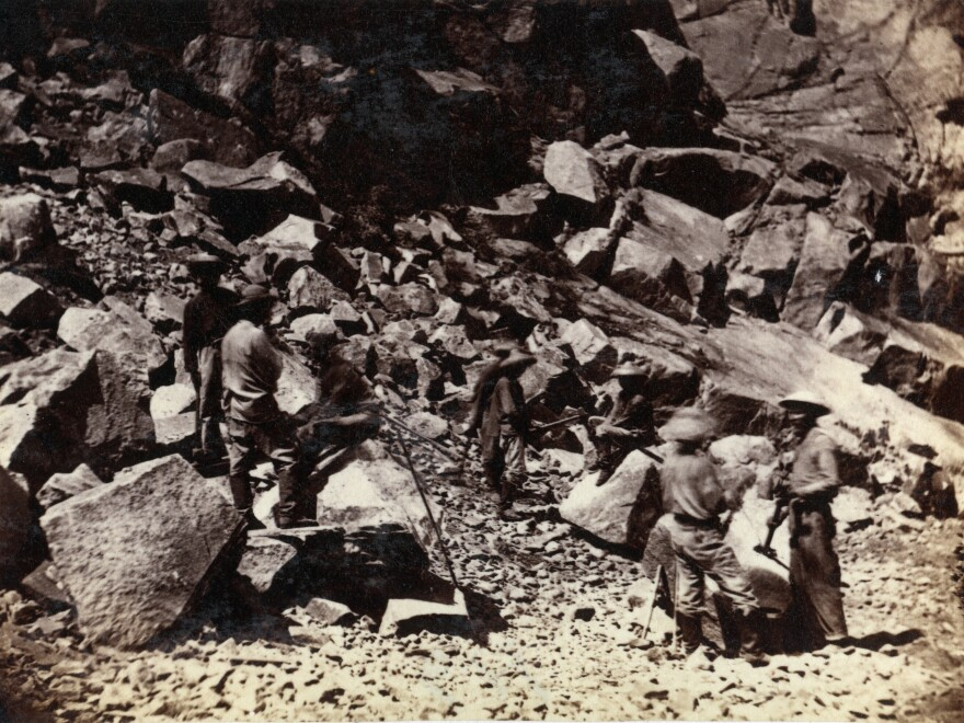 "Some photographs taken during the railroad's construction feature Chinese laborers. More photos can be found on Stanford University's <a href=""http://www.stanford.edu/group/chineserailroad/cgi-bin/wordpress/"">Chinese Railroad Workers in North America Project's website</a>."