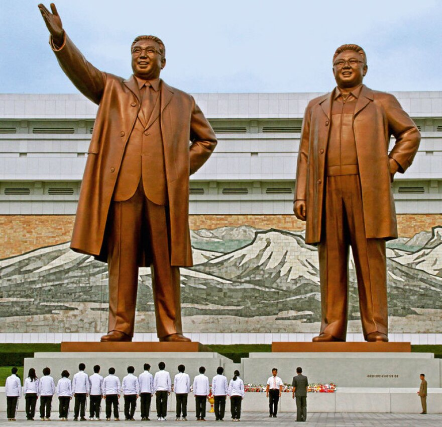 "Photographer Julia Leeb says she was allowed to photograph the statues of former Supreme Leader Kim Jong Il and his father, Kim Il Sung, but only in their entirety and not from behind. She says statues of the leaders — omnipresent in North Korea — are treated almost as a ""religious substitute."""
