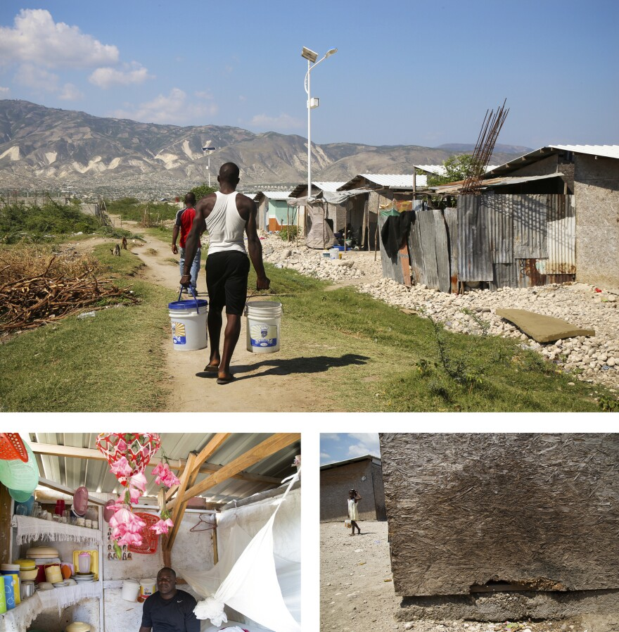 """The American Red Cross says it """"provided homes"""" for more than 130,000 Haitians, but acknowledges that much of that is made up of people who went to a training seminar on how to fix their homes, received temporary rental help or lived in shelters like these in Bon Repos, which start to disintegrate after three to five years. Residents say they don't have bathrooms, kitchens or running water."""