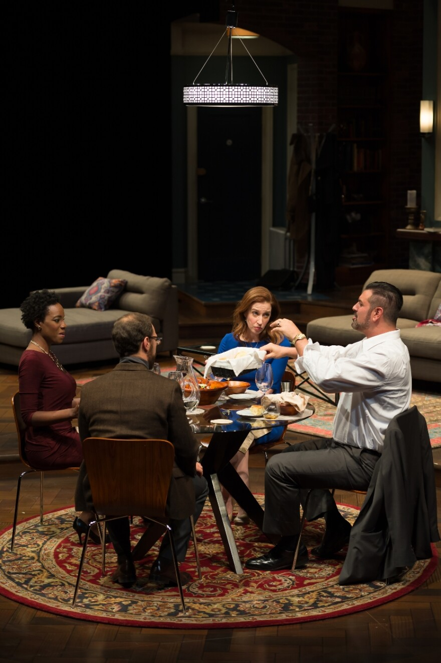 The mood grows tense as the dinner party of Jory (Rachel Christopher), Isaac (Jonathan C. Kaplan), Emily (Leigh Williams) and Amir (John Pasha) devolves into a confrontation.