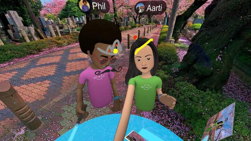 "NPR reporter Aarti Shahani tested Facebook's new social VR platform. She requested an older avatar to represent her, but that was not available. Her guide ""Phil"" had her tour virtual cherry blossoms."