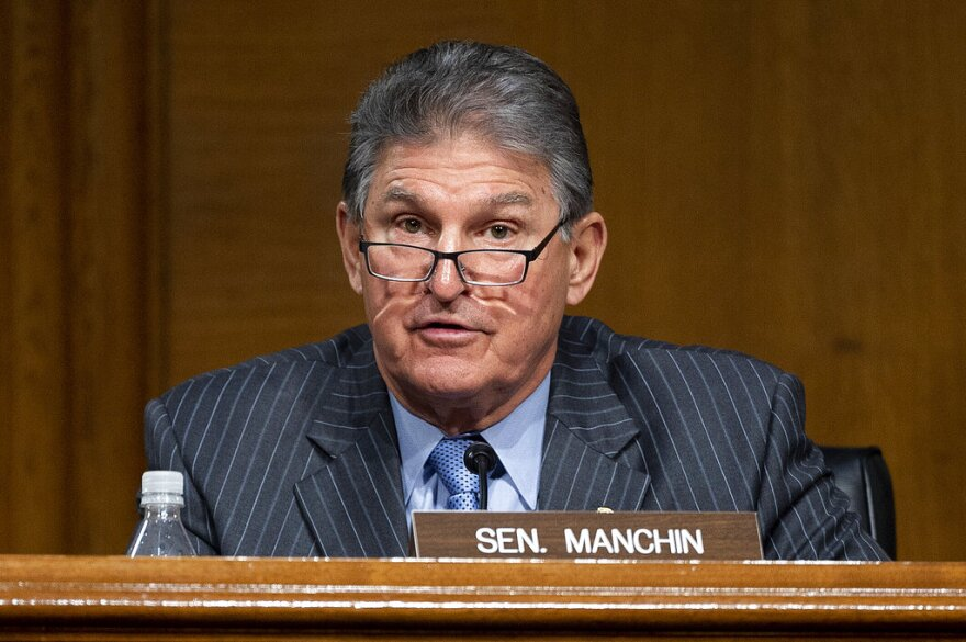 Committee Ranking Member Sen. Joe Manchin, D-WVa., speaks during a hearing to examine the nomination of former Gov. Jennifer Granholm. (Jim Watson/Pool via AP)
