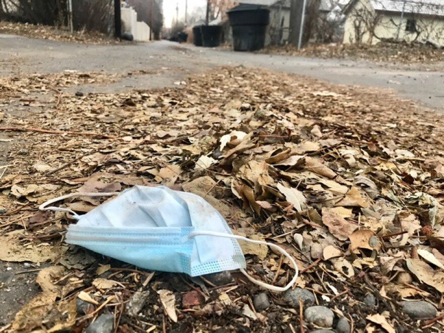 A blue surgical mask sits in a pile of dead leaves in a back alley.