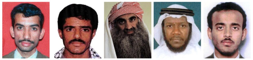 This combination of undated photos shows, from left: Ali Aziz Ali, Walid bin Attash, Khalid Sheikh Mohammed, Mustafa al-Hawsawi and Ramzi bin al-Shibh, the alleged co-conspirators in the Sept. 11 attacks.