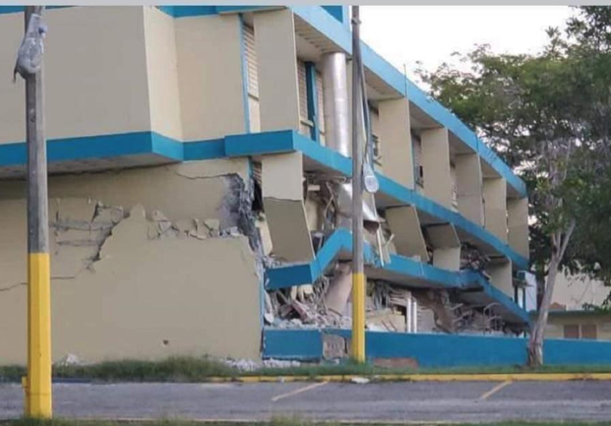 The bottom floor of the Agripina Seda school in Guánica, Puerto Rico, collapsed after one of the recent earthquakes there.