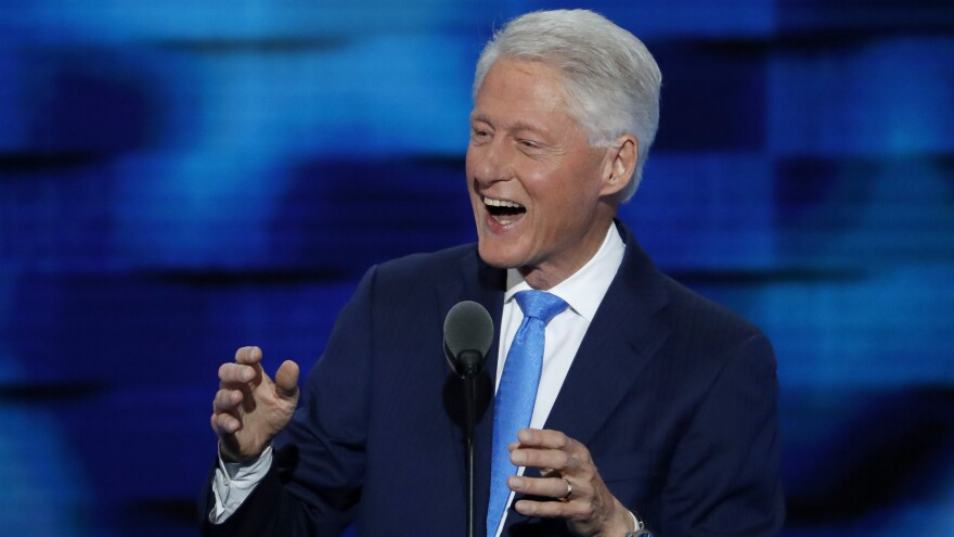 Former President Bill Clinton speaks during the second day of the Democratic National Convention in Philadelphia.
