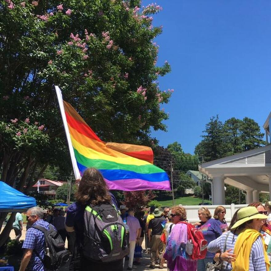 Members of Reconciling Ministries at the Western North Carolina Conference held a Pride March at Lake Junaluska in June.