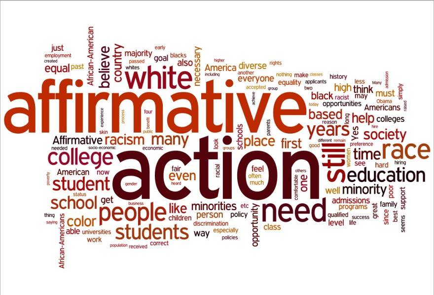 """A word cloud of listener responses to the question, """"Is there still a place for affirmative action in 2012, and why?"""""""