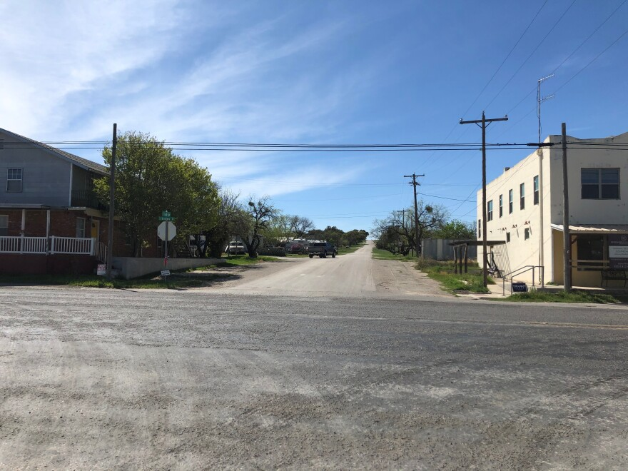 East Lake Avenue is one of the streets that intersects with the highway in Mertzon.