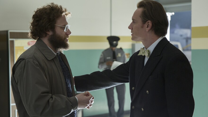 """In the film, Steve Wozniak (Seth Rogen, left) seeks to bring Jobs to acknowledge that, in Boyle's words, """"he's standing on the shoulders of giants."""""""