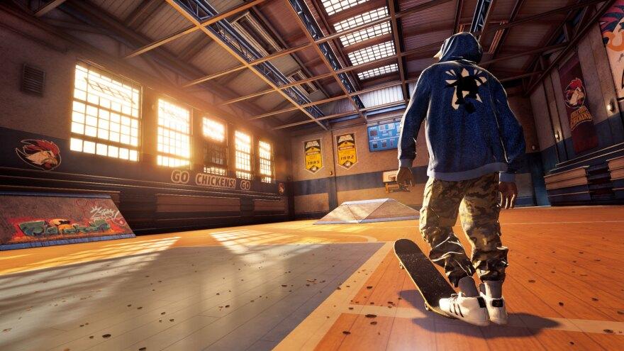 The avatar of professional skateboarder Kareem Campbell, in a still from <em>Tony Hawk's Pro Skater 1+2</em>.
