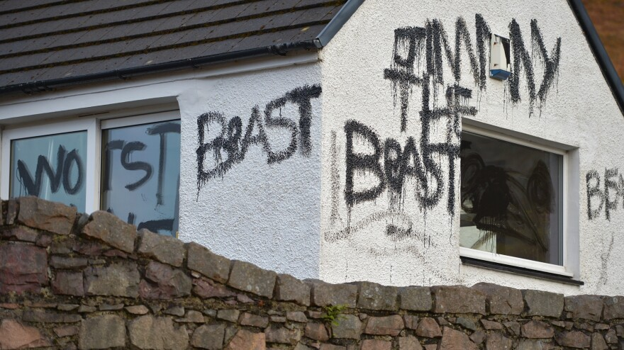 """After accusations of sexual abuse against late TV personality Jimmy Savile became public last October, messages were spray-painted on his Scottish cottage, calling him a """"beast."""" Police say the house was one of """"the main premises"""" where the abuses took place."""