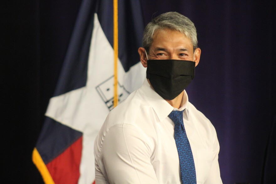 San Antonio Mayor Ron Nirenberg wears a facemask after Tuesday's COVID-19 briefing