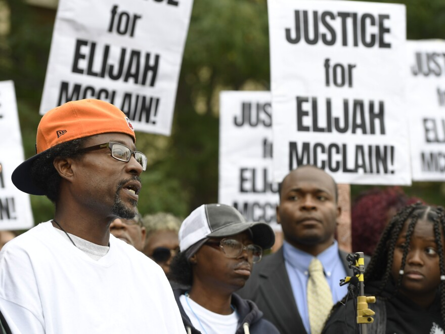Elijah McClain's family, including his father LaWayne Mosley (left) have been calling for justice for the officer-involved death of the 23-year-old for nearly a year.
