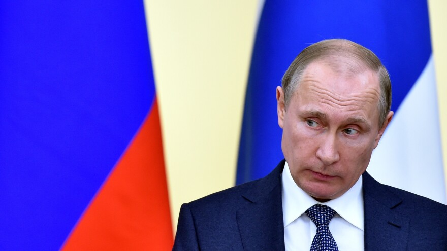 Russian President Vladimir Putin during a joint press conference with his Finnish counterpart following their meeting outside Moscow on March 22.