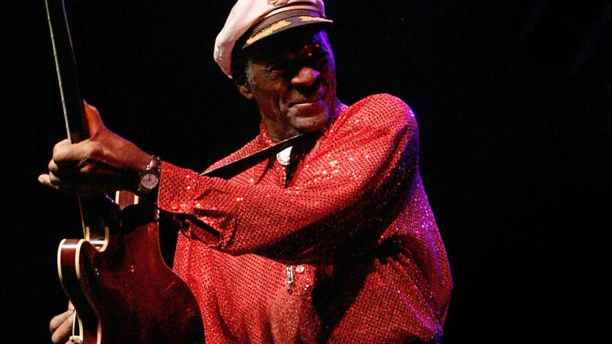 Rock 'n' roll legend Chuck Berry performs during a concert held in Santa Cruz de Tenerife in 2008. He turns 90 Tuesday.