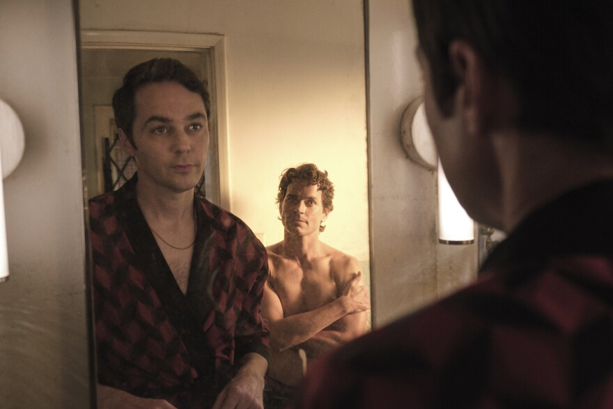 "Jim Parsons, left, and Matt Bomer in a scene from ""The Boys in the Band,"" available for Netflix streaming on Sept. 30. (Scott Everett White/Netflix via AP)"