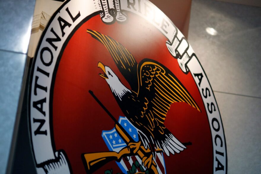 The logo of the National Rifle Association is seen at an outdoor sports trade show in Harrisburg, Pennsylvania.